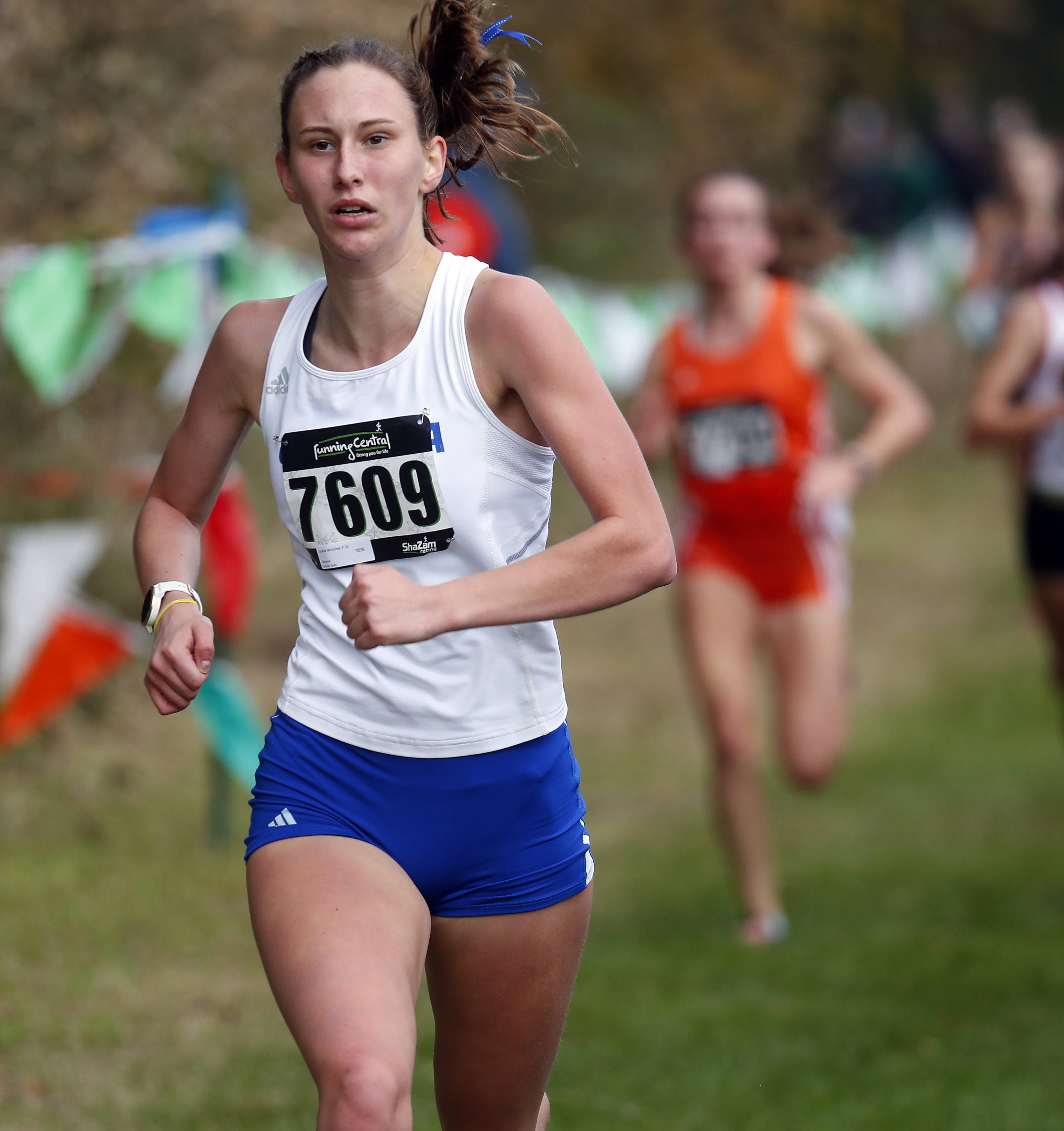 Sophia McDonnell of Geneva Saturday during the Waubonsie Valley cross country sectional in Aurora.