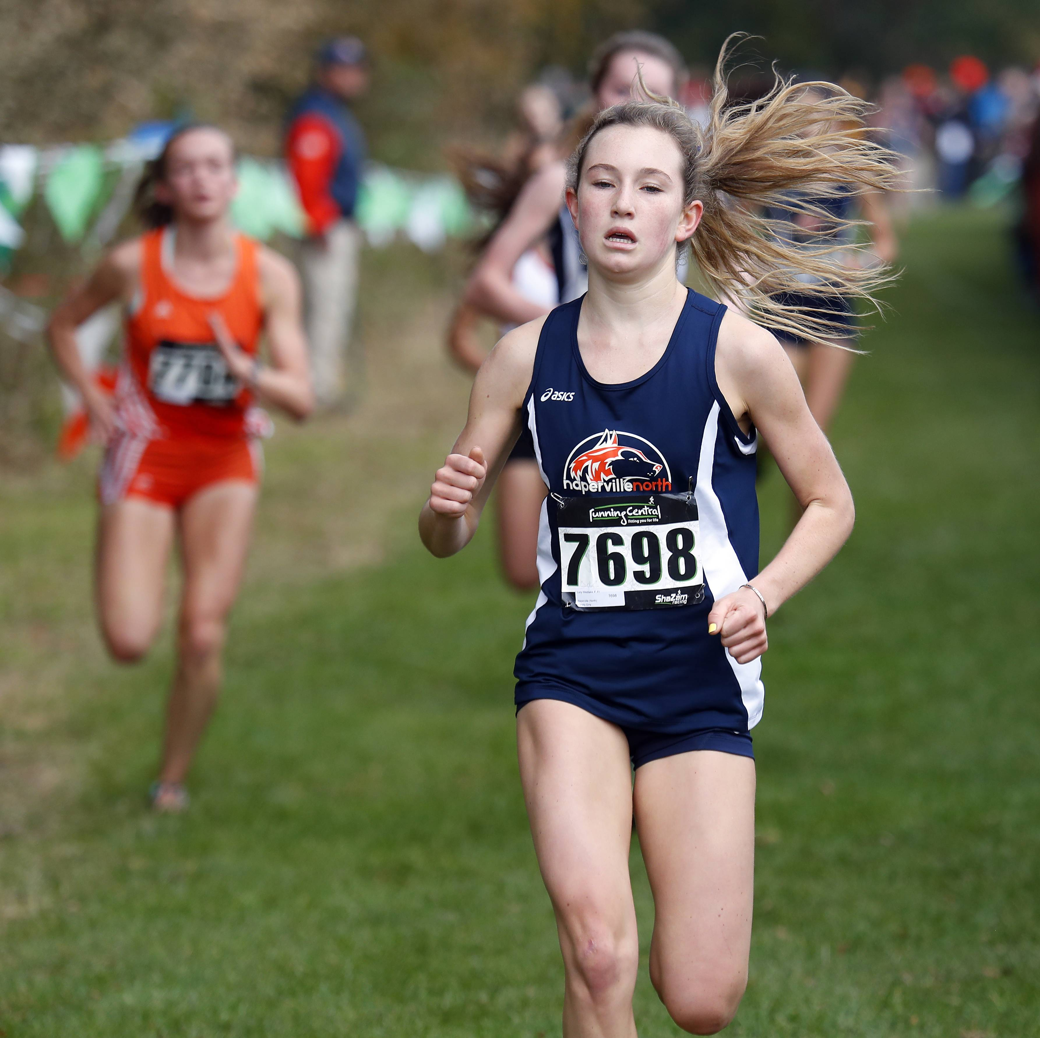 Lucy Westlake of Naperville North Saturday during the Waubonsie Valley cross country sectional in Aurora.