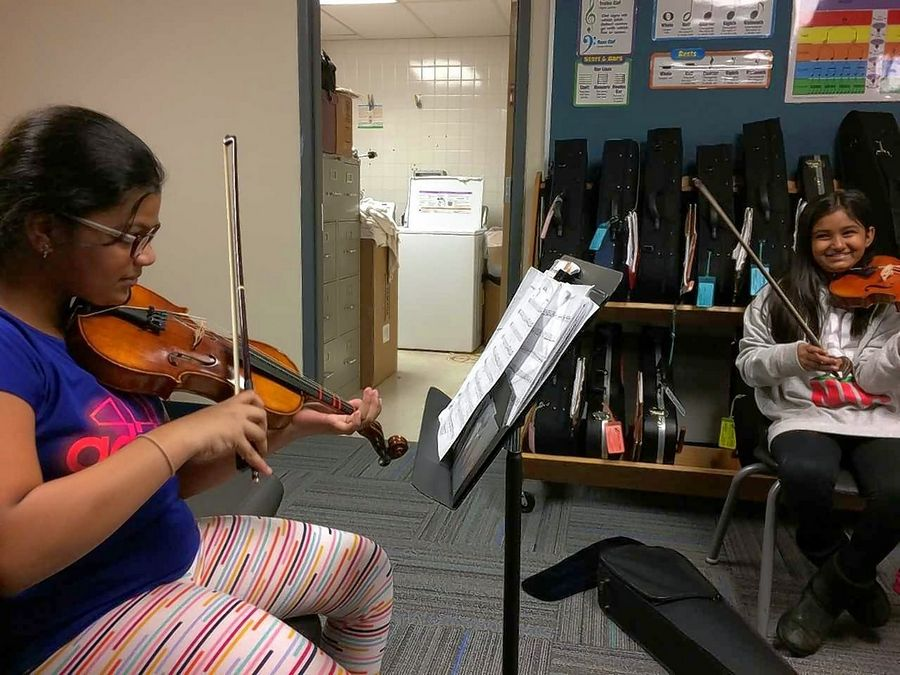 The fifth-grade orchestra class at Hawthorn Elementary South is held in a converted kitchen, one of several examples district leaders point to when asked about the need for a proposed $48.7 million bond issue to renovate and expand schools.
