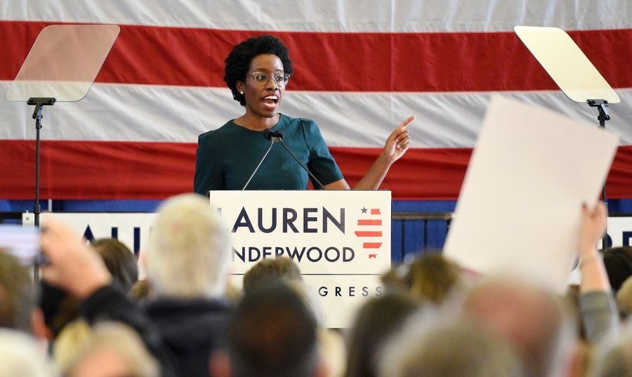 Lauren Underwood addresses supporters at Wednesday's rally.