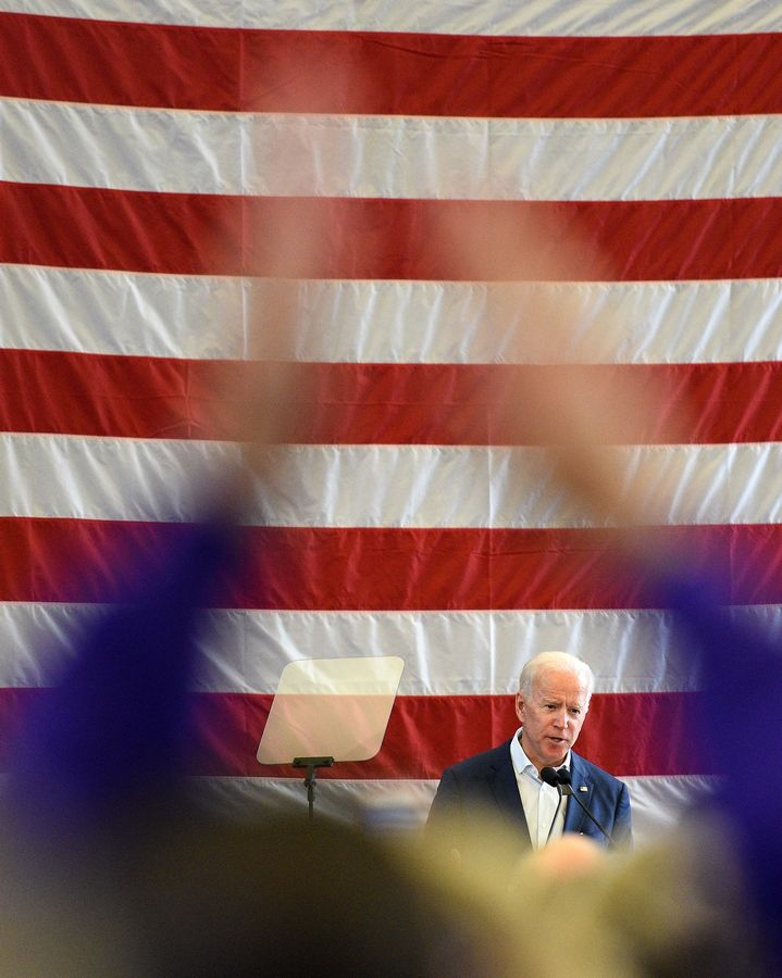 Former Vice President Joe BIden speaks at a campaign stop for congressional candidate Lauren Underwood at the Kane County Fairgrounds in St. Charles Wednesday.
