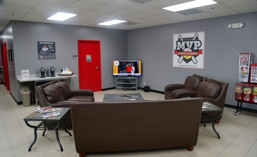 The waiting room at MVP Sports Academy in Lake Zurich.