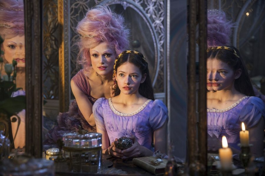 "Clara (Mackenzie Foy) receives advice from the Sugar Plum Fairy (Keira Knightley) in Disney's ""The Nutcracker and the Four Realms."""