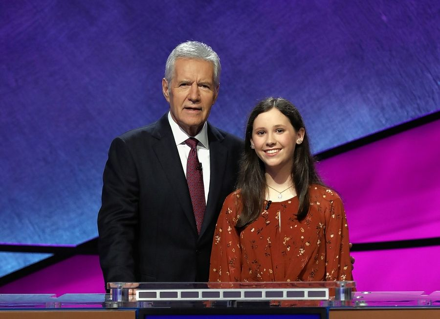 """Jeopardy!"" host Alex Trebek with contestant Isabella Pagano of Libertyville."