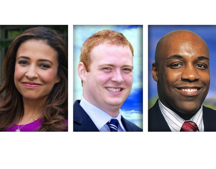 From left, Republican Erika Harold, Libertarian Bubba Harsy and Democrat Kwame Raoul are candidates for Illinois attorney general.