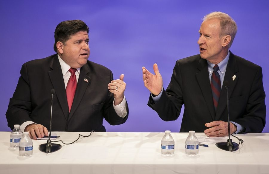 Gov. Bruce Rauner, right, and challenger J.B. Pritzker disagree on the state's income tax.