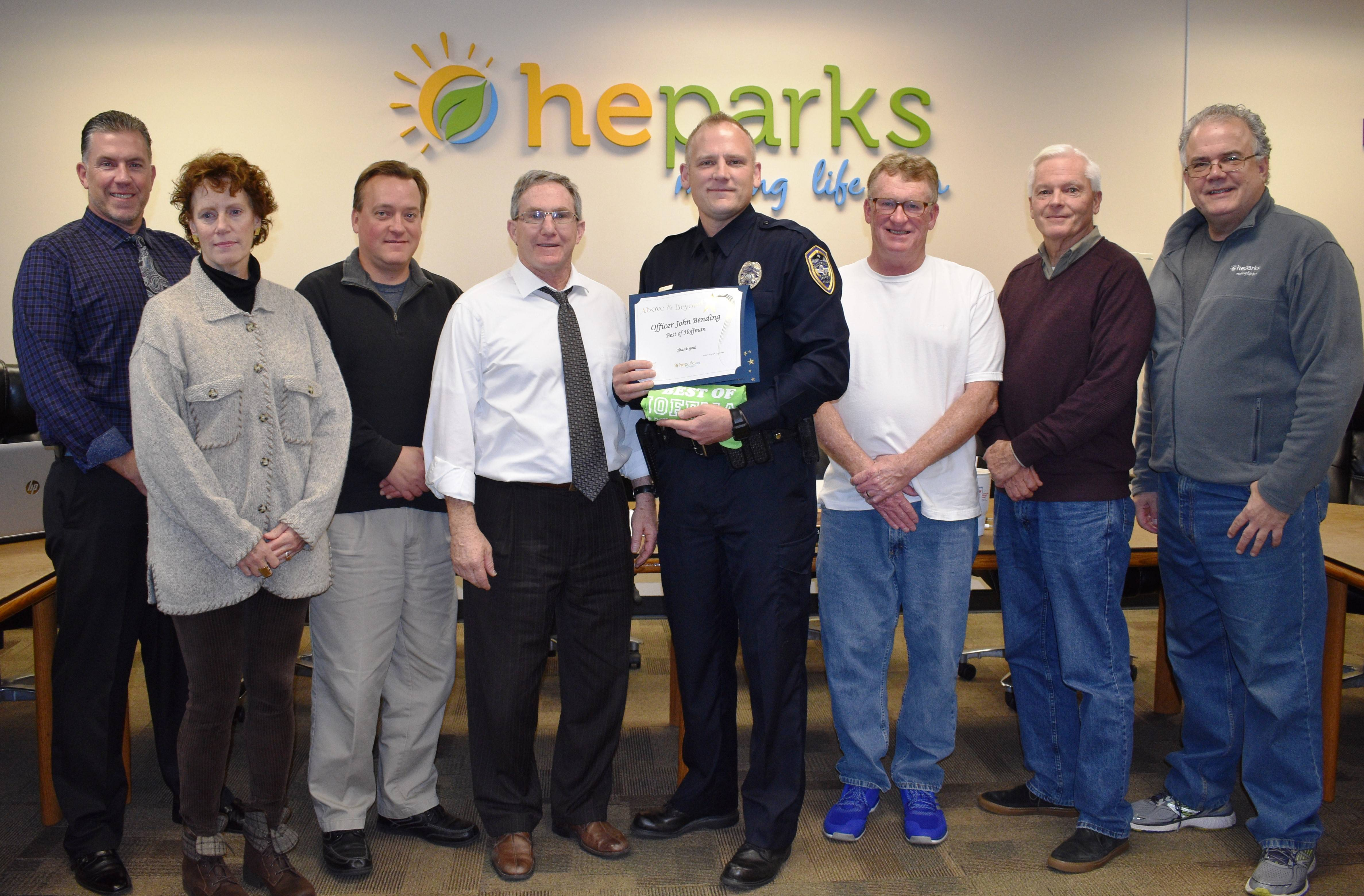 The Hoffman Estates Park Board of Commissioners with its Best of Hoffman Award recipient for October Officer John Bending of the Hoffman Estates Police Department.