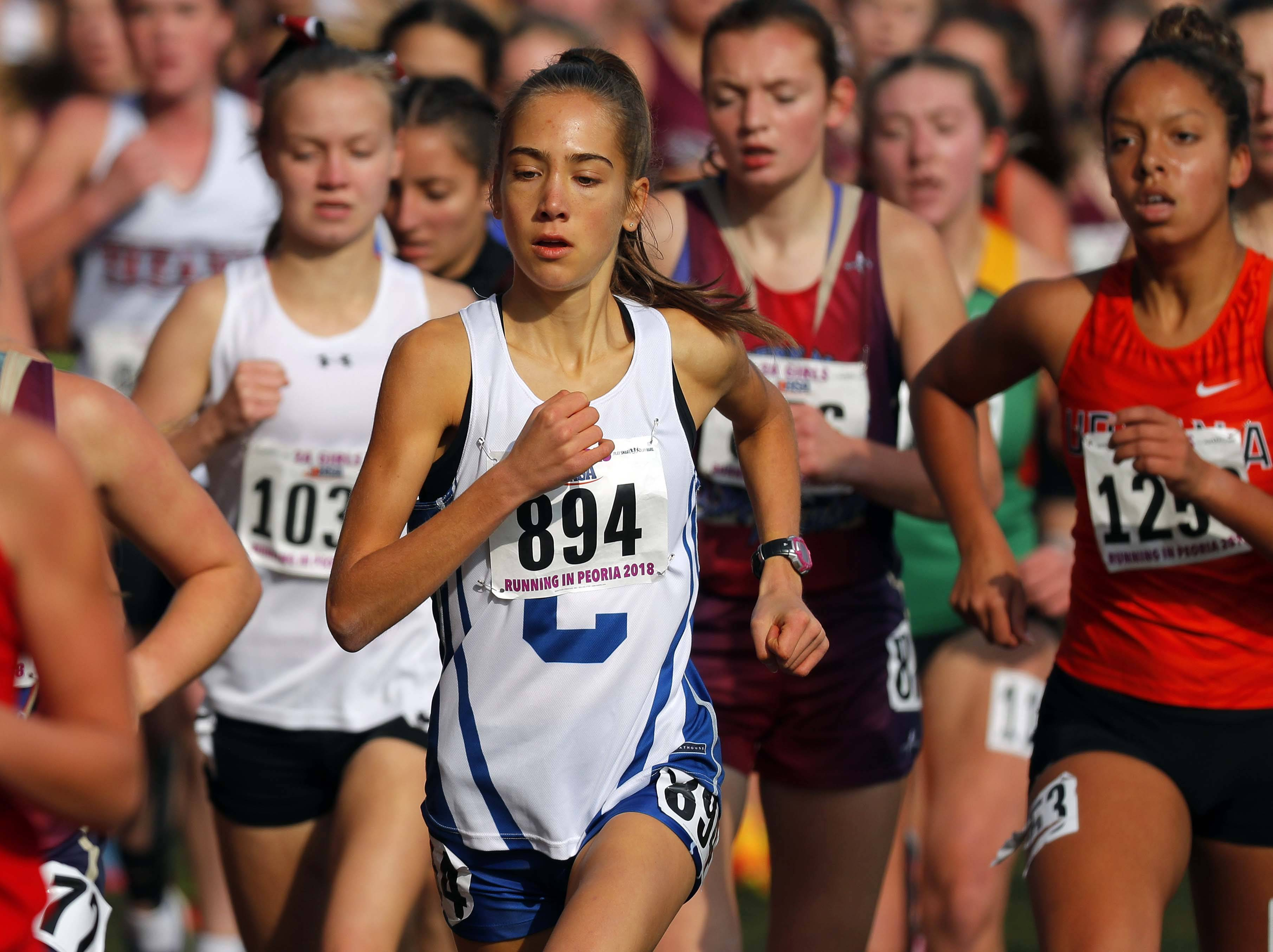 Burlington Central's Erin Jossart (894) runs during the girls Class 2A state cross country finals Saturday at Detweiller Park in Peoria.