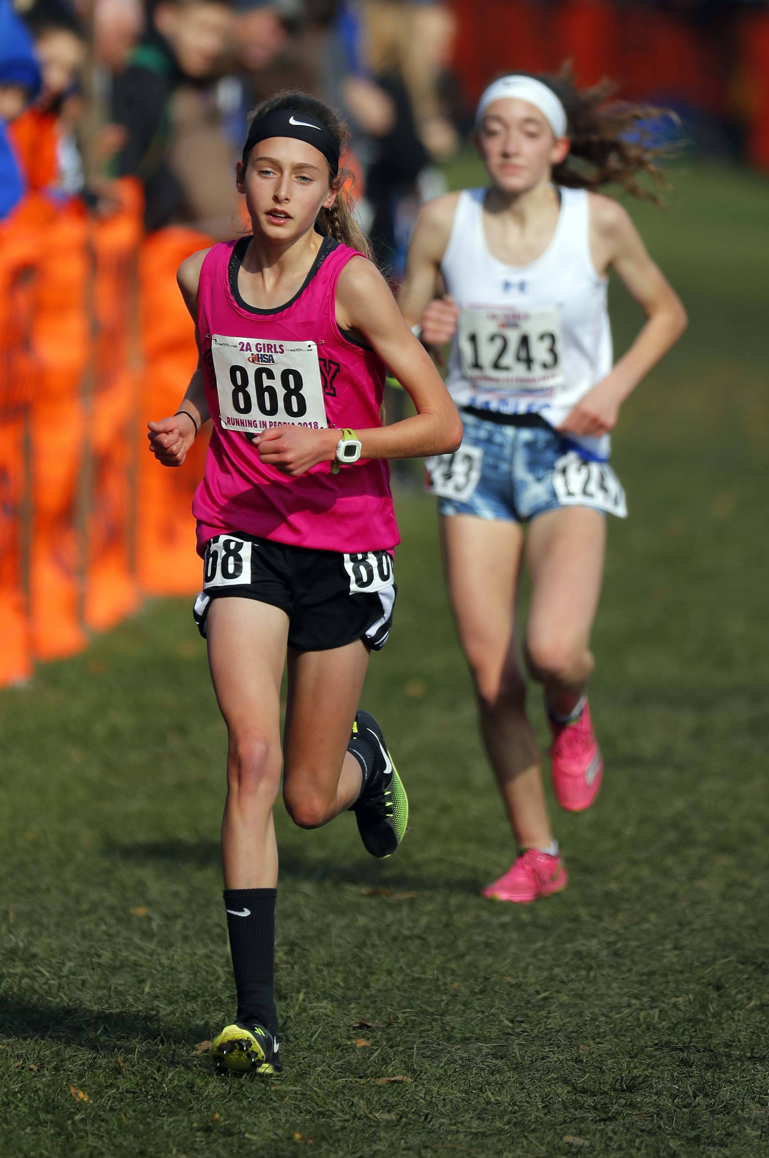 Rosary's Lianna Surtz finished second in the girls Class 2A state cross country finals Saturday at Detweiller Park in Peoria.