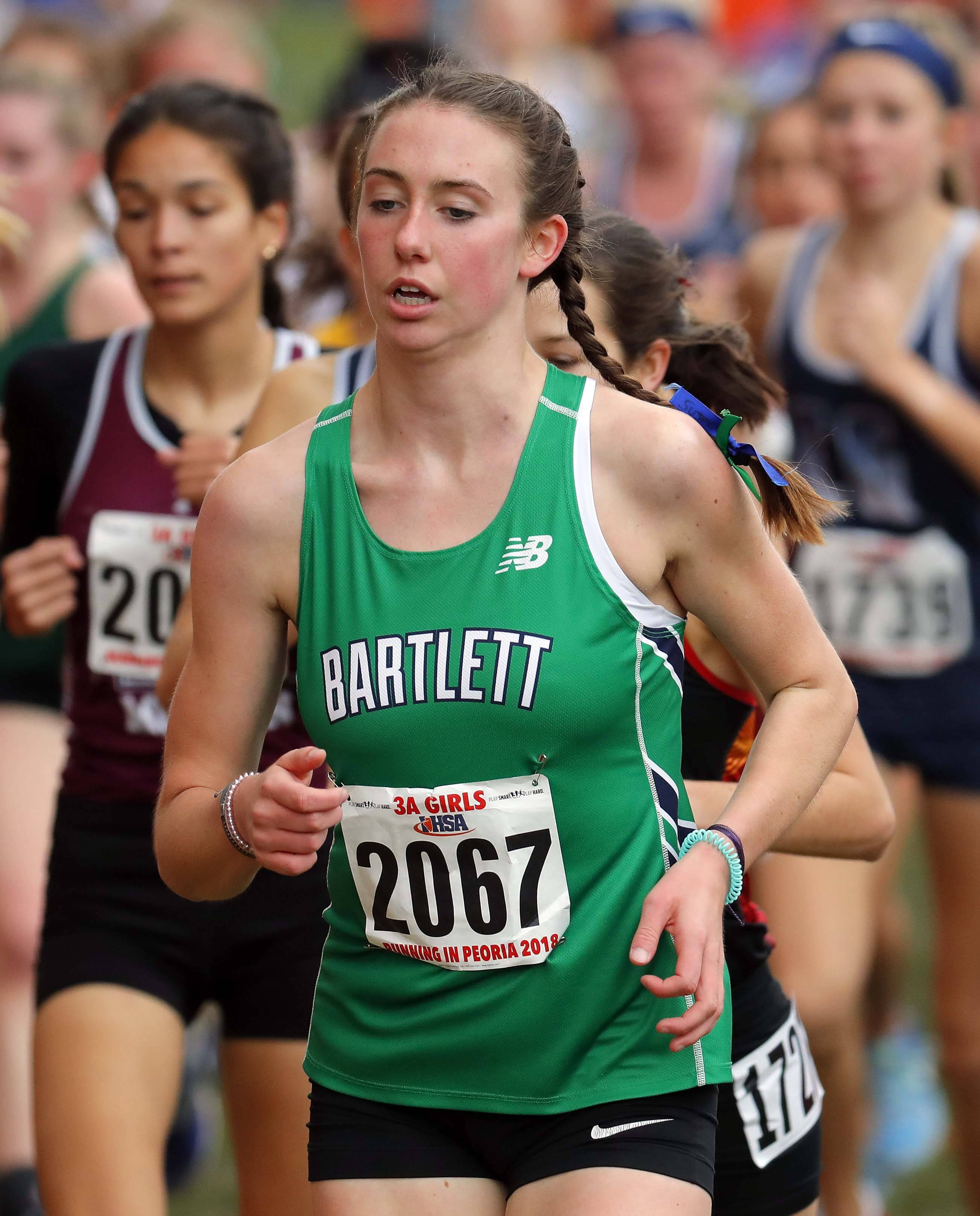 Bartlett's Camille Buchanan runs during the girls Class 3A state cross country finals Saturday at Detweiller Park in Peoria.