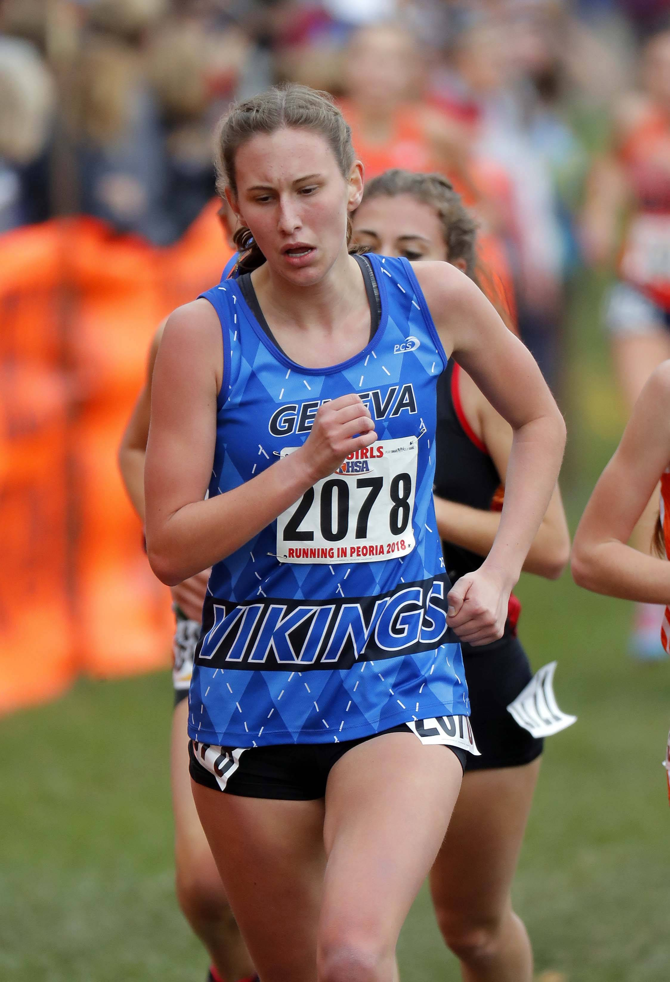 Geneva's Sophia McDonnell runs during the girls Class 3A state cross country finals Saturday at Detweiller Park in Peoria.