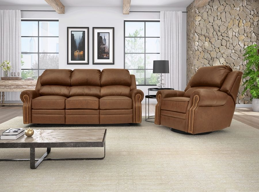 A new recliner and sofa set in leather would be a perfect way to greet your holiday guests.