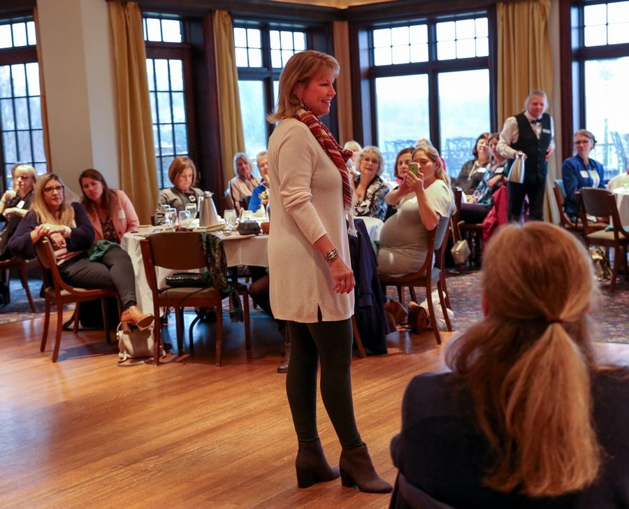 Laura Humphrey models an outfit from J. Jill at the Stylin' for Scholars fashion show Sunday hosted by the Chicago Northwest Sorority Alumnae Panhellenic at Makray Memorial Golf Club in Barrington. The annual event raises funds for college scholarships.