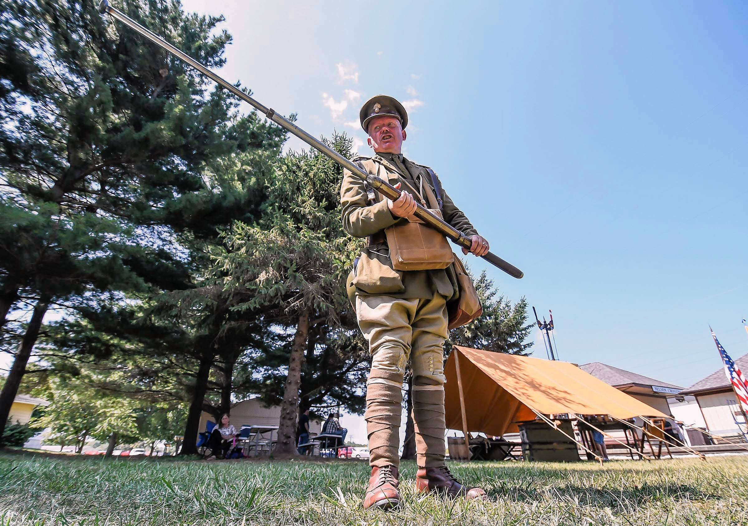 Great War Living History enthusiast Ian Houghton participates in a World War I encampment at Monticello, Illinois.