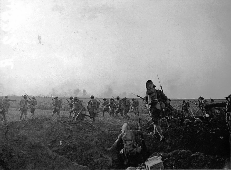 First Division soldiers start the first U.S. attack of World War I in the tiny French village of Cantigny on May 28, 1918.