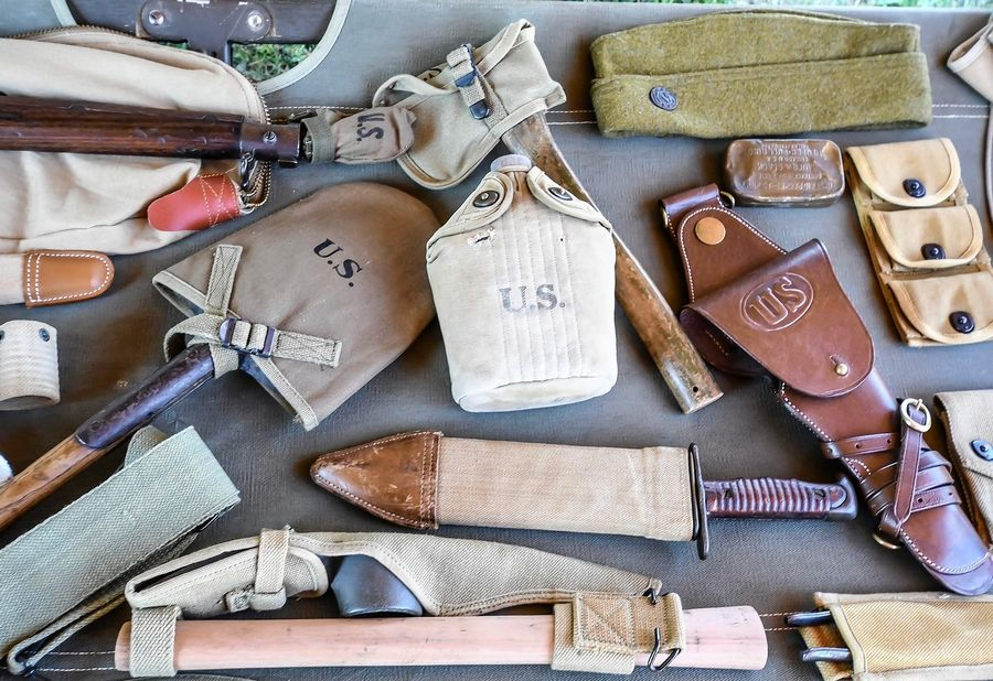 PHOTOS BY CLAY JACKSON, HERALD & REVIEW Items from a private World War I collection were on display during a re-enactment in Monticello, Illinois.