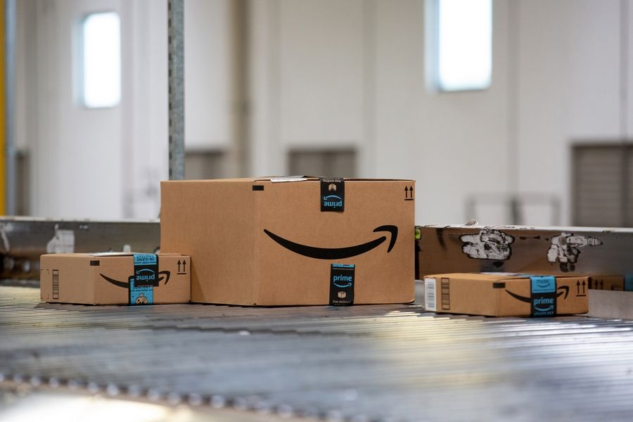 Packages move along a conveyor belt at the Amazon.com Inc. fulfillment center in Robbinsville, New Jersey.