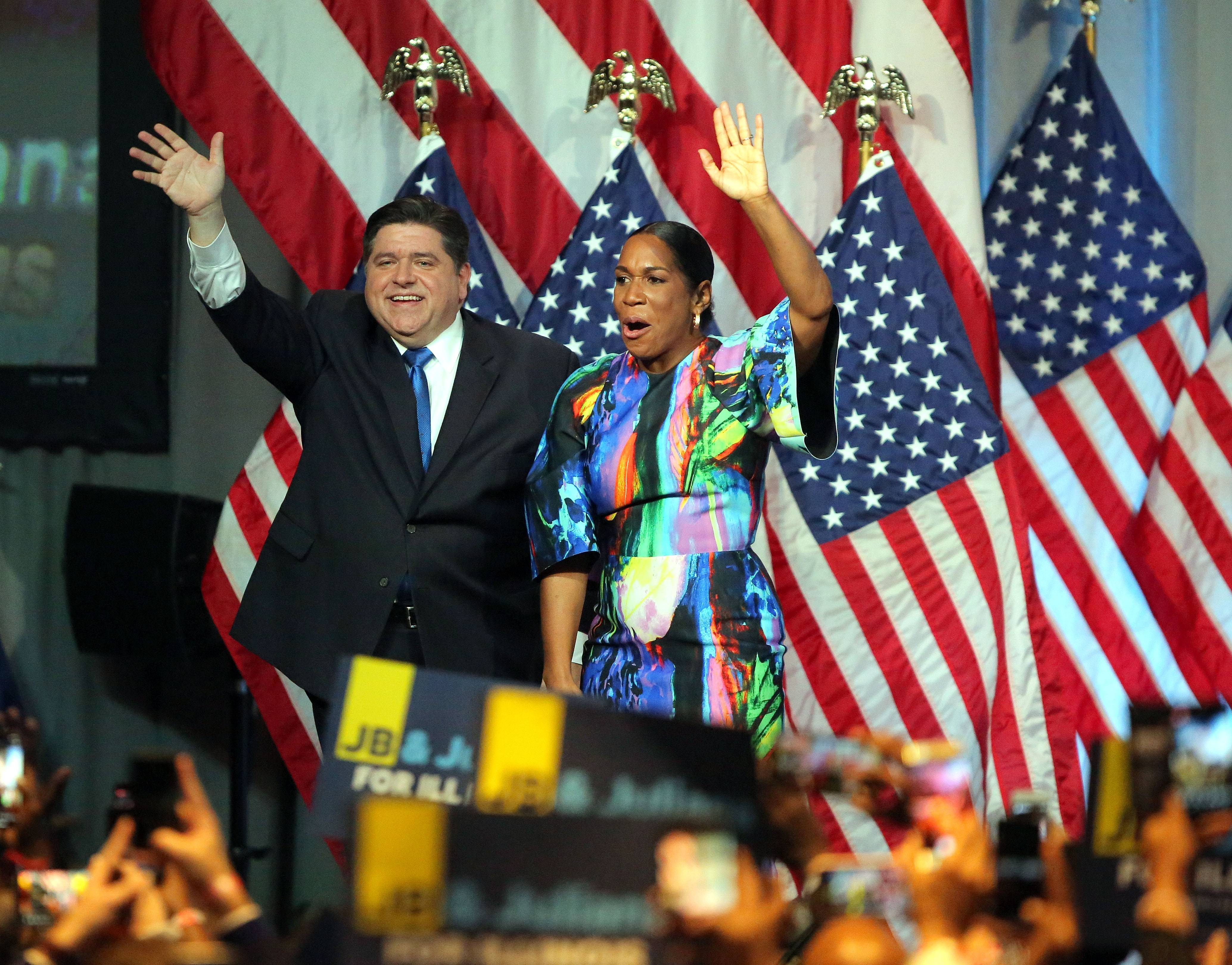 Illinois Governor-elect J.B. Pritzker and Juliana Stratton celebrate Tuesday night at the Marriott Marquis Chicago.