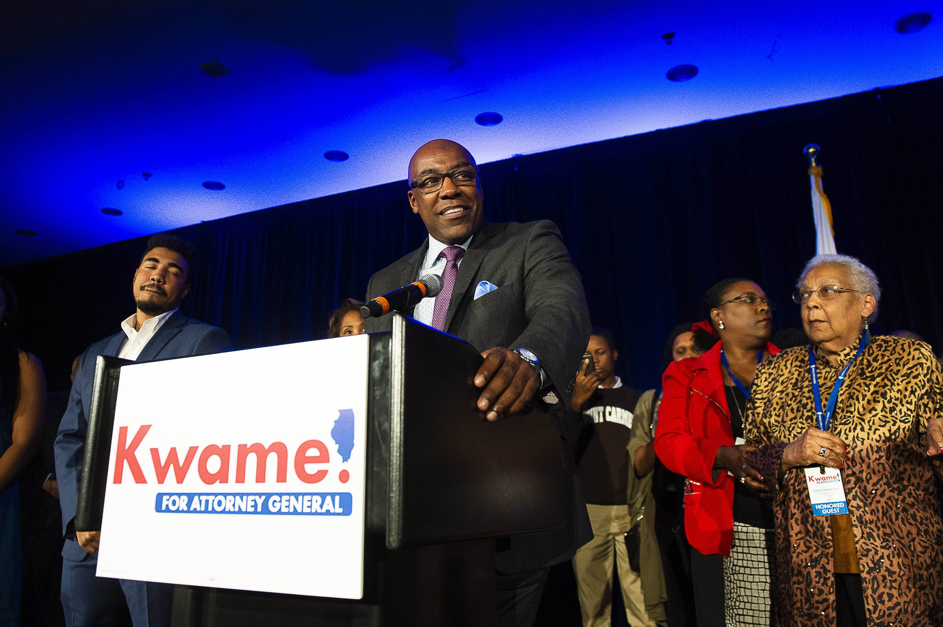 Illinois Attorney General Elect Kwame Raoul address the crowd at his election night party, Tuesday, Nov. 6, 2018, in Chicago. | Tyler LaRiviere/Sun-Times