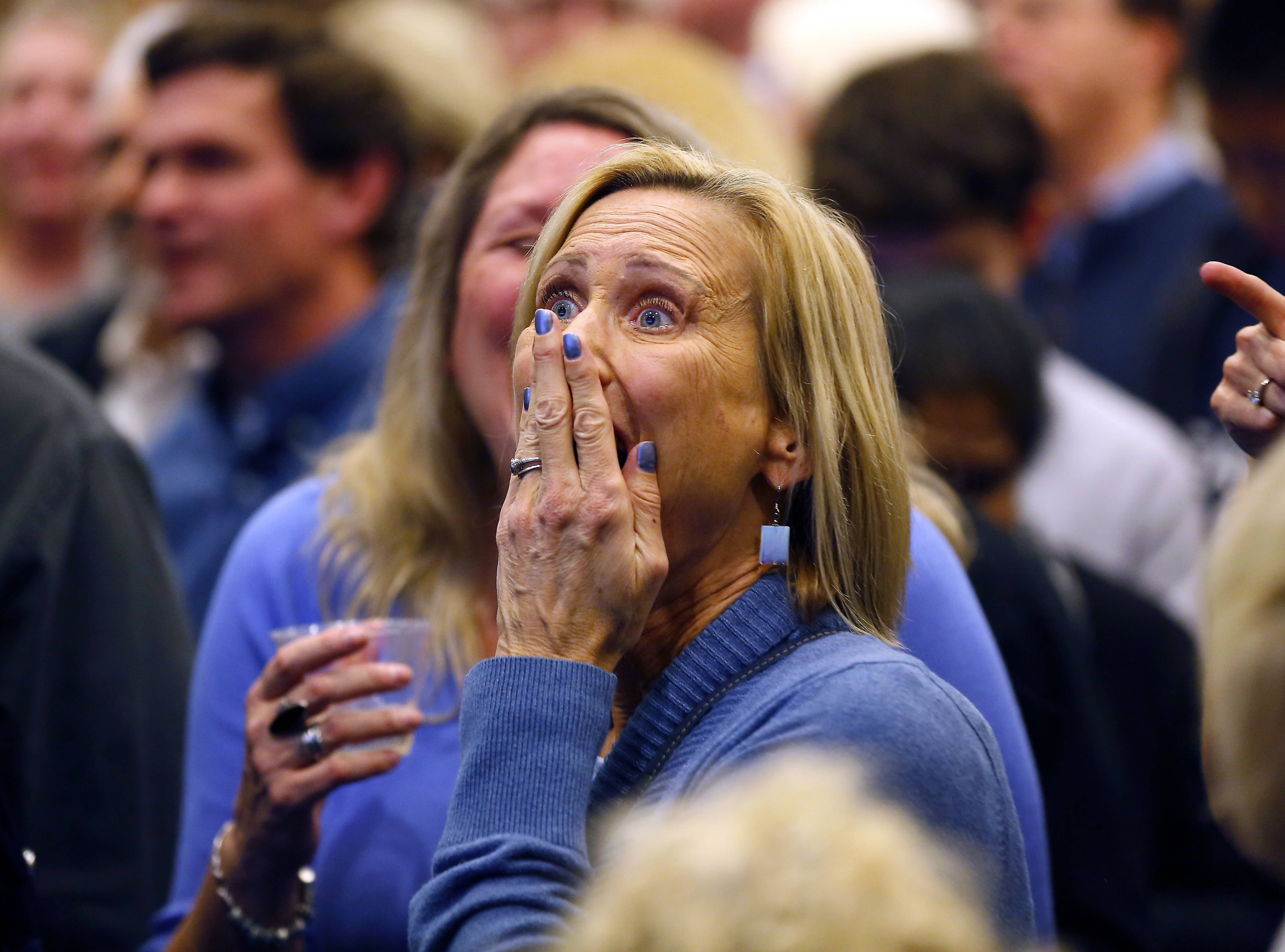 Anita Ehlers of Barrington reacts Tuesday after learning Democrat Sean Casten beat incumbent Republican Rep. Peter Roskam in a tight race for the 6th U.S. Congressional District.