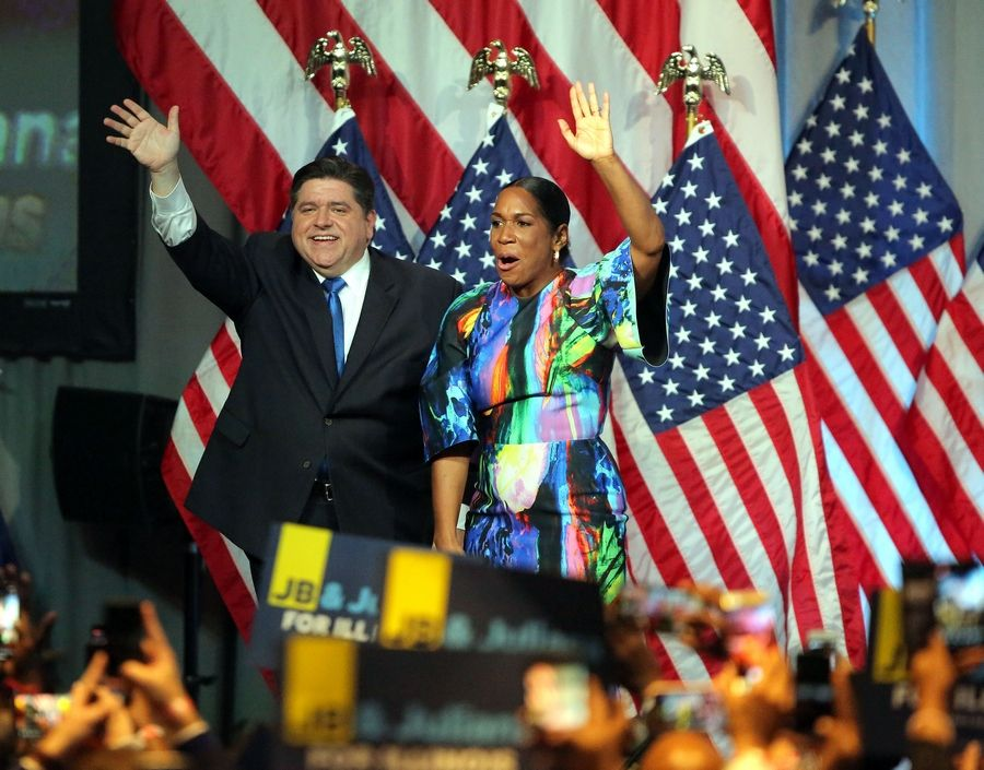 Gov.-elect J.B. Pritzker and Lt. Gov.-elect Juliana Stratton celebrate their win Tuesday night at the Marriott Marquis Chicago.