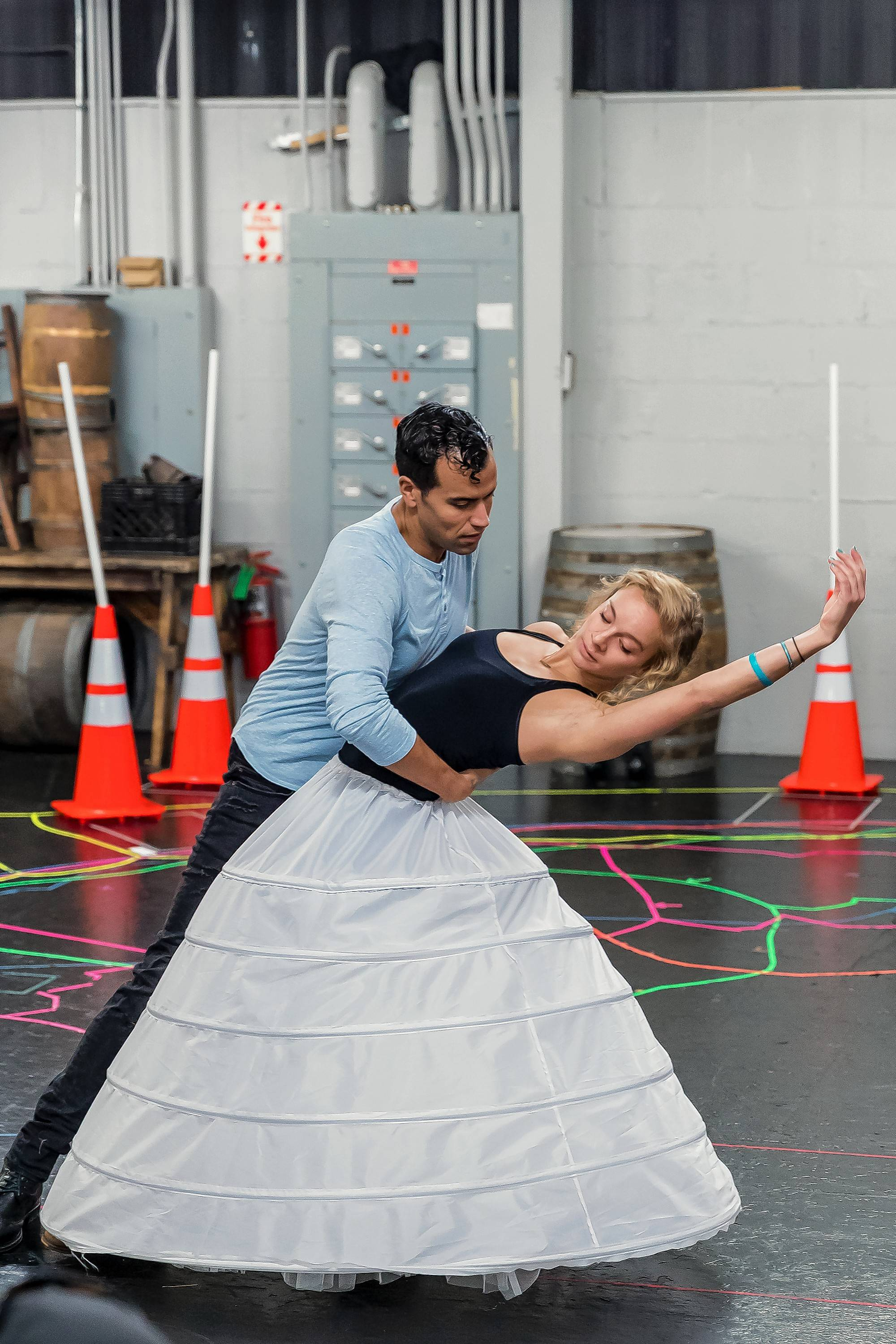 """Brandon Contreras and Glen Ellyn native Erica Stephan rehearse the title song of """"Disney's Beauty and the Beast"""" at Drury Lane Theatre in Oakbrook Terrace."""