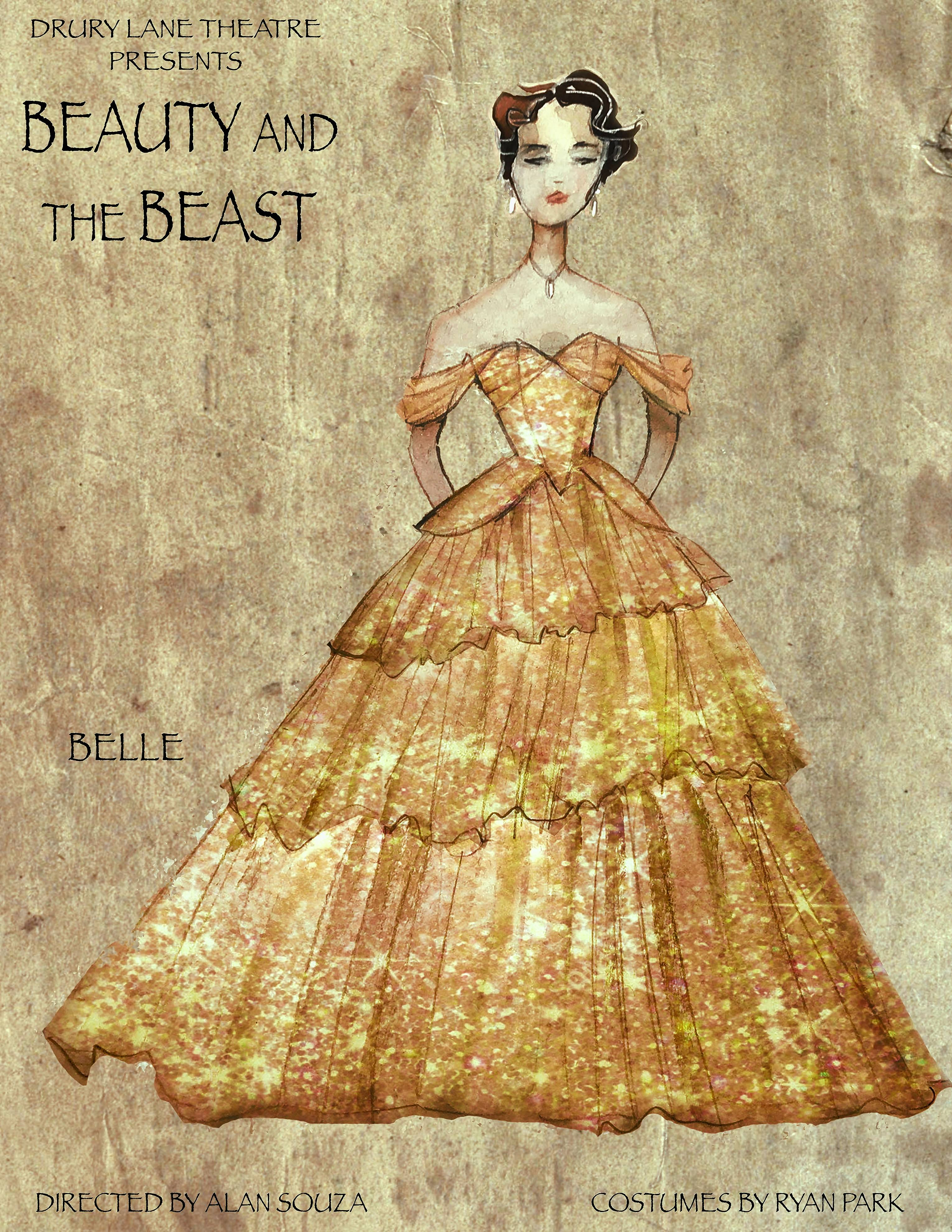 """Costume designer Ryan Park put his own spin on Belle's yellow ballgown for Drury Lane Theatre's production of """"Disney's Beauty and the Beast."""""""