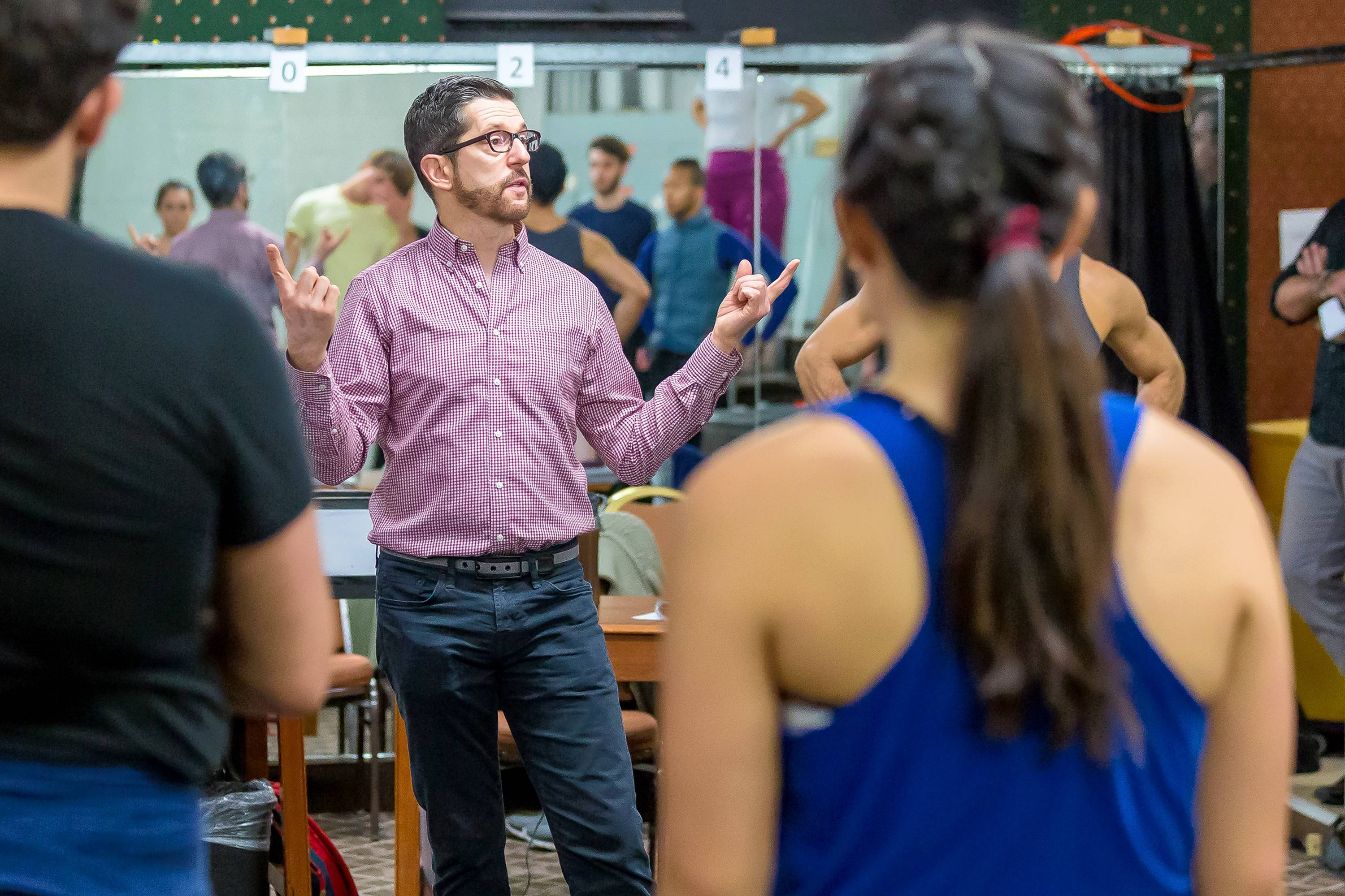 """Director Alan Souza rehearses for """"Disney's Beauty and the Beast"""" at Drury Lane Theatre in Oakbrook Terrace."""