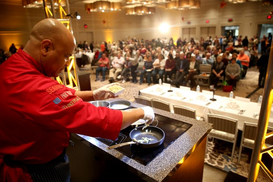 Executive Chef Ahmed Azizy of the Westin Chicago Northwest cooks for the audience and answers questions during last year's Cook of the Week Challenge finale. He'll be back this year as a contest judge and giving a demonstration.