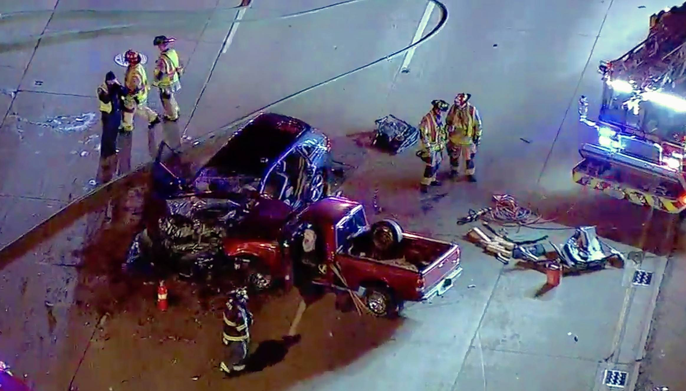A serious crash trapped two people in separate vehicles at the intersection of Milwaukee and Prague avenues in Buffalo Grove Wednesday night.