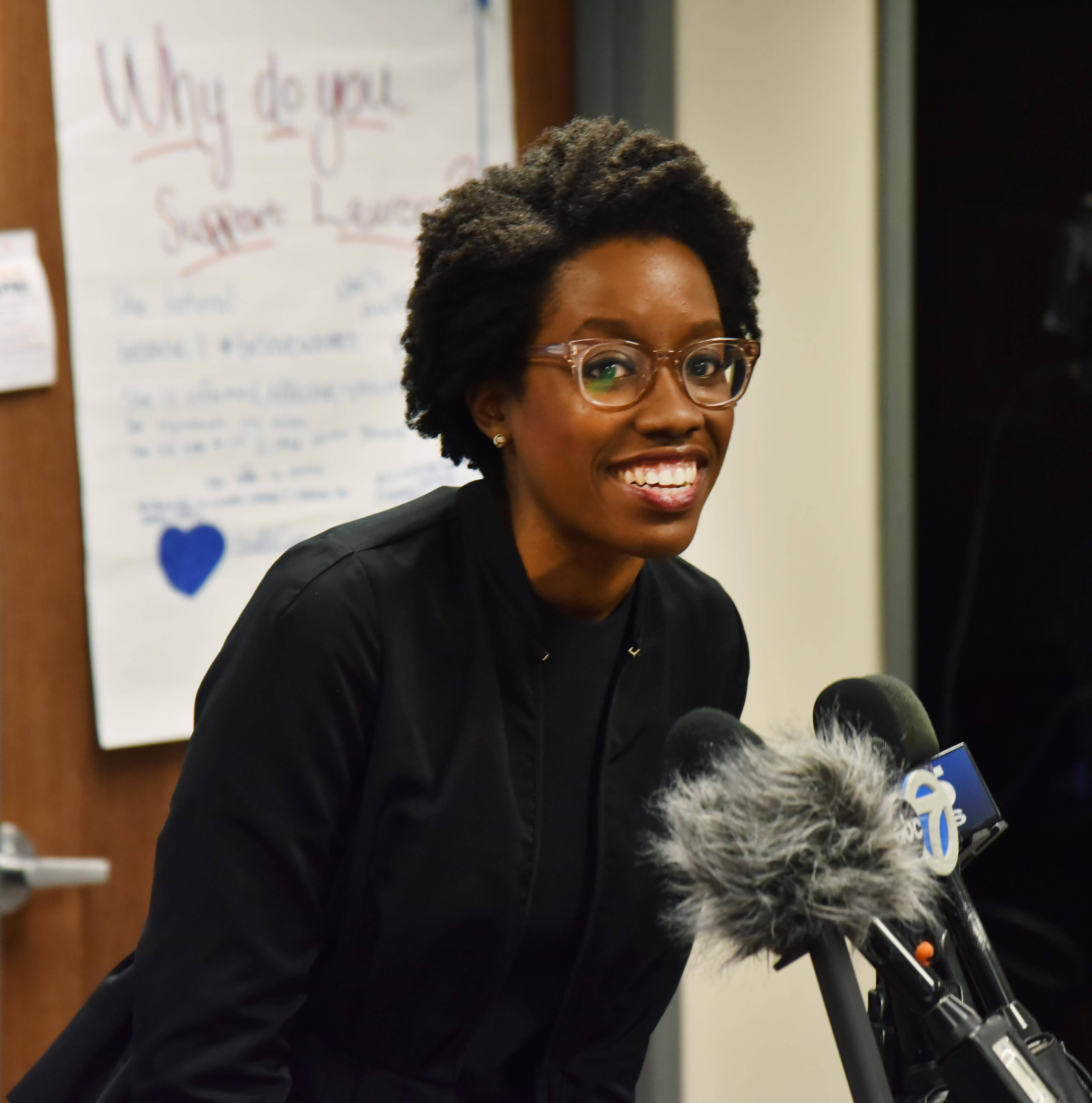 Lauren Underwood talks with volunteers and supporters of her campaign Wednesday at her headquarters in St. Charles. She defeated longtime Republican Randy Hultgren Tuesday for the 14th Congressional District seat.