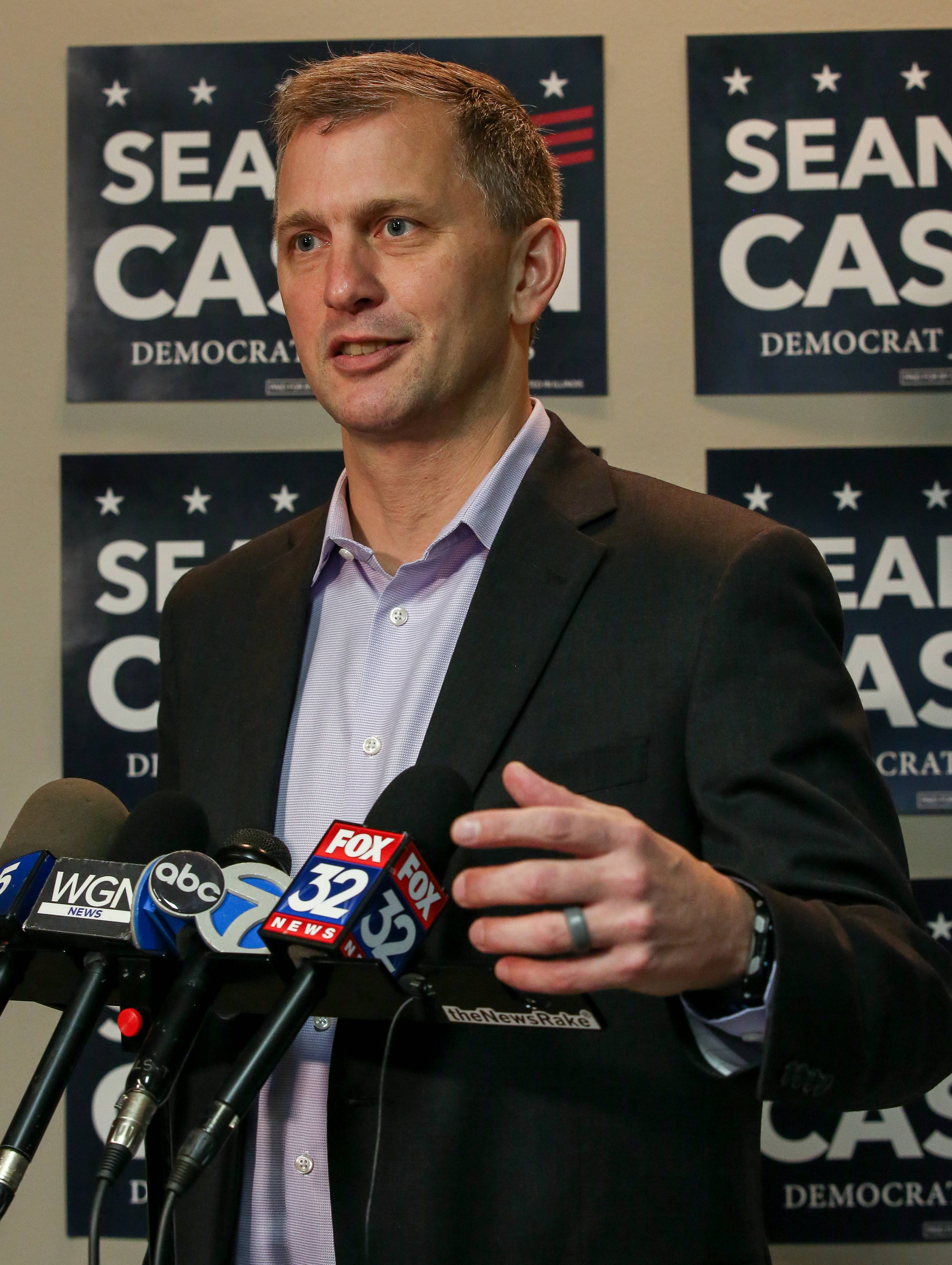 Democrat Sean Casten answers questions Wednesday in Downers Grove about how he unseated Republican Rep. Peter Roskam to win in the 6th U.S. Congressional District.