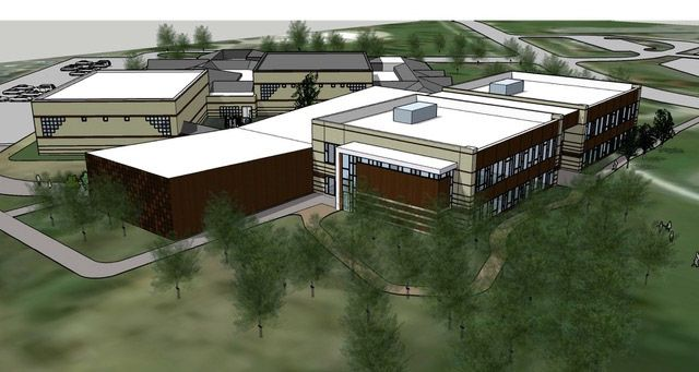 Rendering of a proposed Hawthorn School District 73 kindergarten building to be built adjacent to the Sullivan Center on Aspen Drive in Vernon Hills.