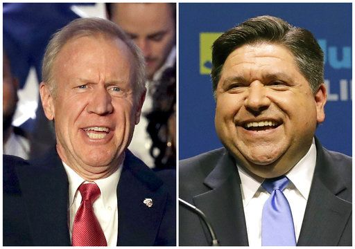 FILE - This combination of March 20, 2018, file photos shows the candidates for Illinois governor in the November 2018 election from left, incumbent GOP Gov. Bruce Rauner and Democrat J.B. Pritzker.