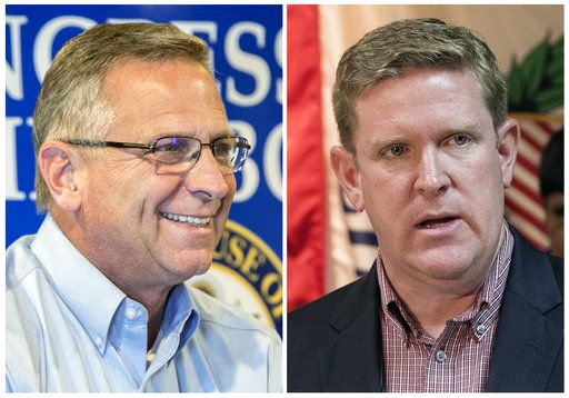 This combination of file photos shows the candidates for Illinois' 12th District seat in the November 2018 election from left, incumbent GOP Rep. Mike Bost, of Murphysboro, and Democrat Brendan Kelly, of Swansea. (Derik Holtmann/Belleville News-Democrat via AP, File