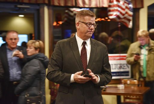 U.S. Rep. Randy Hultgren, R-Ill., visits with others at his election night party in Bristol, Ill., on Tuesday, Nov. 6, 2018. Hultgren lost in his re-election bid to Democrat Lauren Underwood in Illinois 14th District race. (John Starks/Daily Herald via AP)