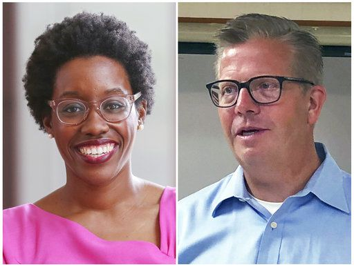 FILE - This combination of file photos shows candidates in Illinois' 14th District race in the November 2018 election from left, Democrat Lauren Underwood and incumbent Republican U.S. Rep. Randy Hultgren.