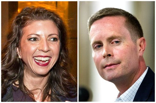 This combination of file photos shows the candidates in Illinois' 13th Congressional District race in the November 2018 election from left, Democrat Betsy Dirksen Londrigan and incumbent Republican U.S. Rep. Rodney Davis. (The State Journal-Register via AP, File