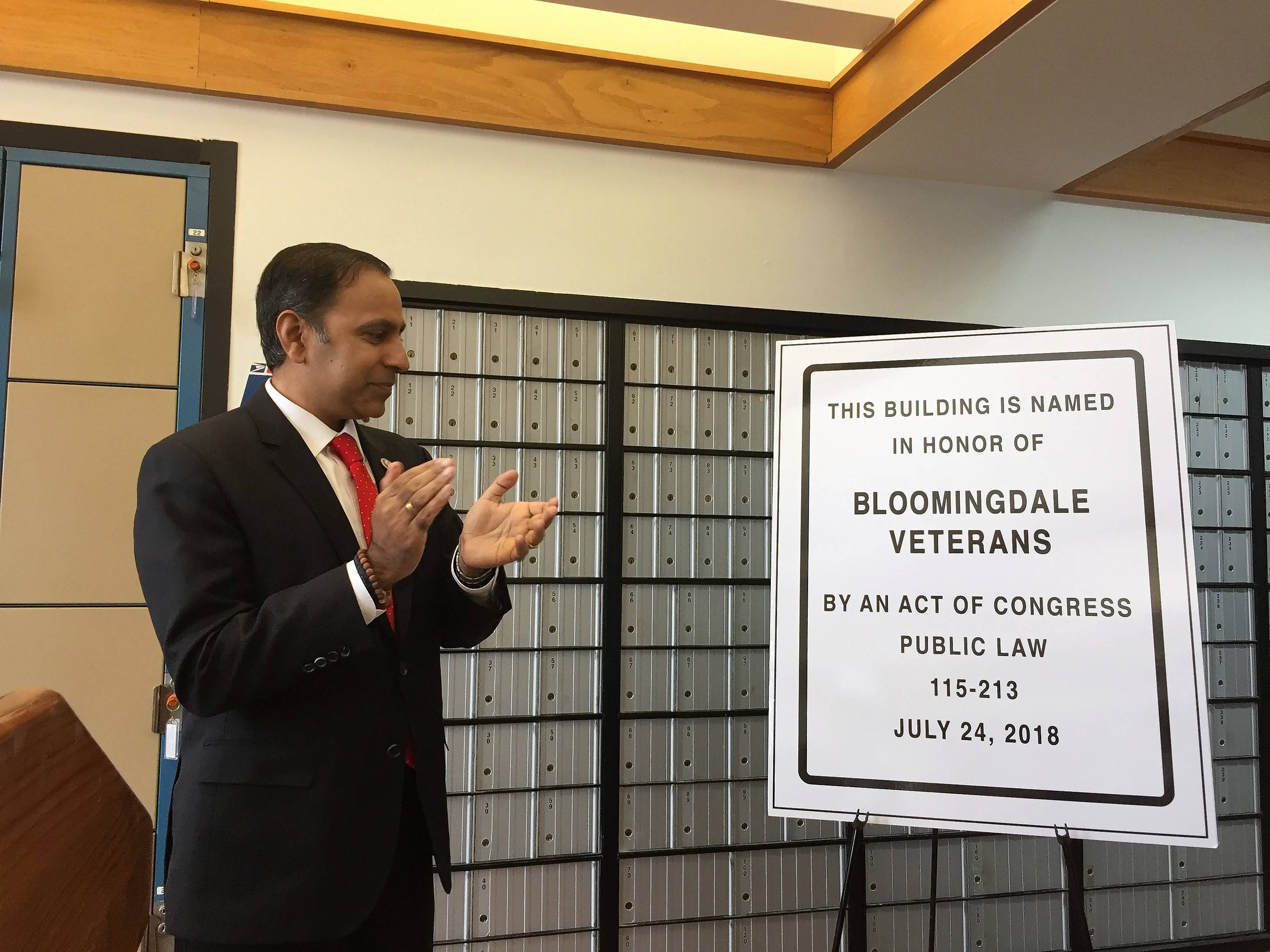 U.S. Rep. Raja Krishnamoorthi attended a Thursday ceremony to rename the post office in Bloomingdale. The facility along Schick Road is now called the Bloomingdale Veterans Memorial Post Office Building.