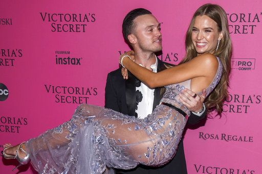 Alex DeLeon and Josephine Skriver attend the 2018 Victoria's Secret Fashion Show after-party at Pier 94 on Thursday, Nov. 8, 2018, in New York. (Photo Charles Sykes/Invision/AP)