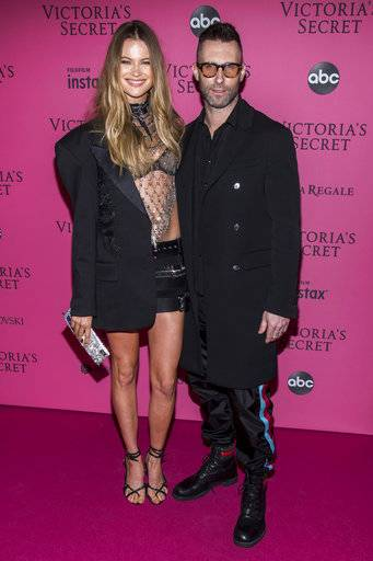 Behati Prinsloo, and Adam Levine attend the 2018 Victoria's Secret Fashion Show after-party at Pier 94 on Thursday, Nov. 8, 2018, in New York. (Photo Charles Sykes/Invision/AP)