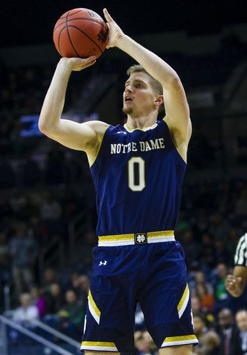 Notre Dame's Rex Pflueger (0) shoots against Chicago State during an NCAA college basketball game Thursday, Nov. 8, 2018, in South Bend, Ind. (Michael Caterina/South Bend Tribune via AP)