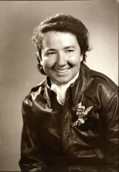 Janice Christensen in her bomber jacket, which has a Women Airforce Service Pilots emblem.