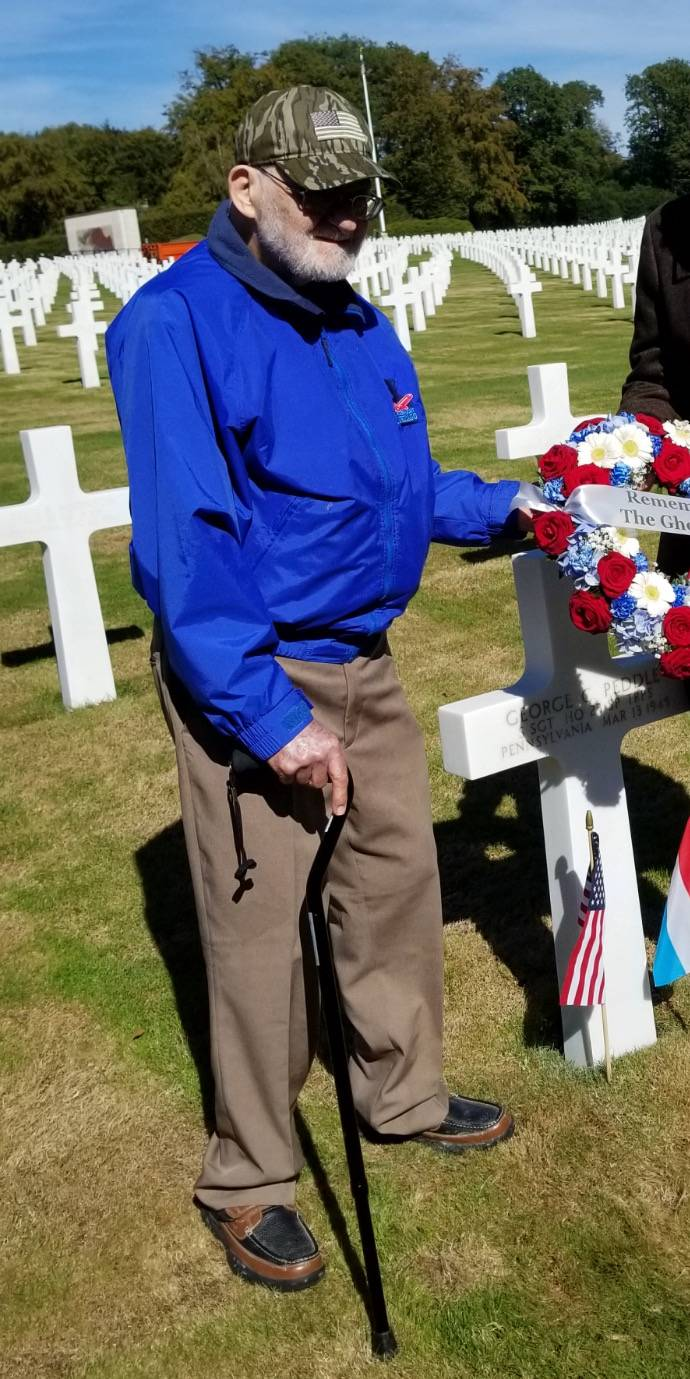 Schaumburg resident Bernie Bluestein visits the Luxembourg American Cemetery during a September tour to revisit the sites where he served as a member of the Ghost Army during World War II.