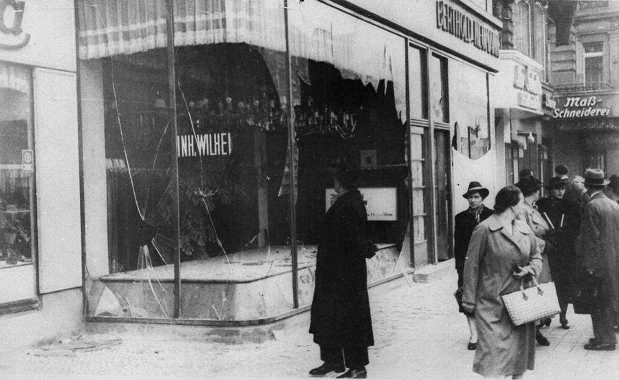 Associated PressA man looks at the wreckage of a Jewish shop in Berlin on Nov. 10, 1938, in the aftermath of Kristallnacht, an organized nationwide attack carried out by Nazi paramilitary forces and German civilians over two days. The rampage, during which the perpetrators set fire to hundreds of synagogues, looted thousands of Jewish businesses and attacked Jews throughout Germany, is often considered the beginning of the Holocaust.