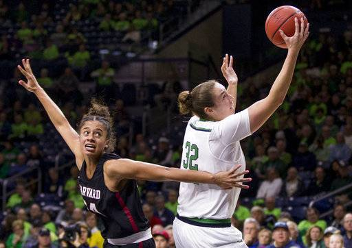 Notre Dame's Jessica Shepard (32) goes up for a shot next to Harvard's Jadyn Bush (24) during the first half of an NCAA college basketball game Friday, Nov. 9, 2018, in South Bend, Ind.
