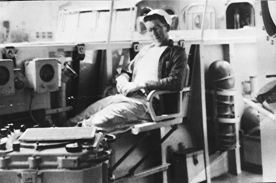 "Korean War veteran Russ ""Pops"" McCann of Des Plaines in a photo on the USS Cromwell around 1955."