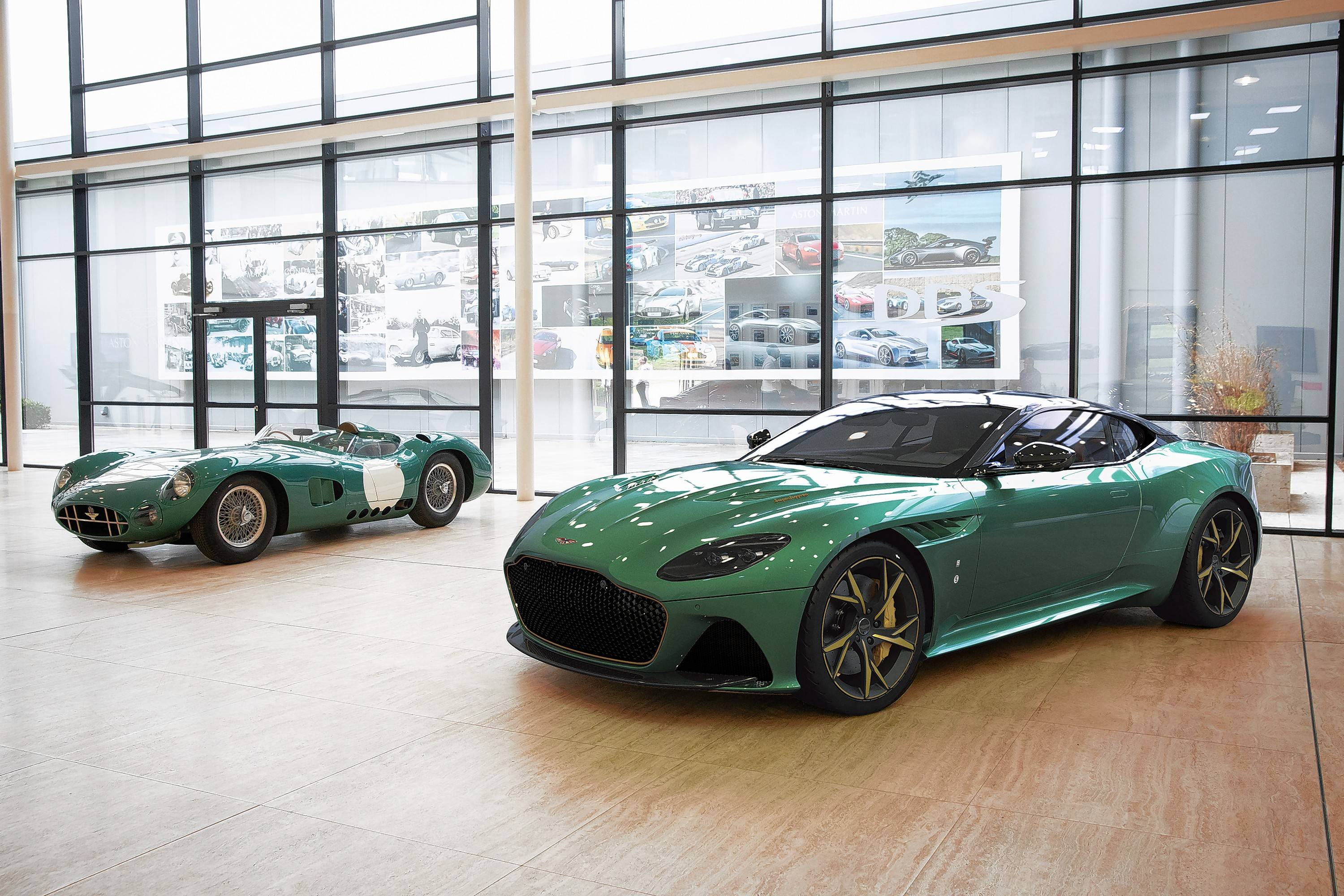 The Aston Martin DBS 59, foreground, is inspired by the Aston Martin DBR1 race car, in back, of which only five were built between 1956 and 1959.
