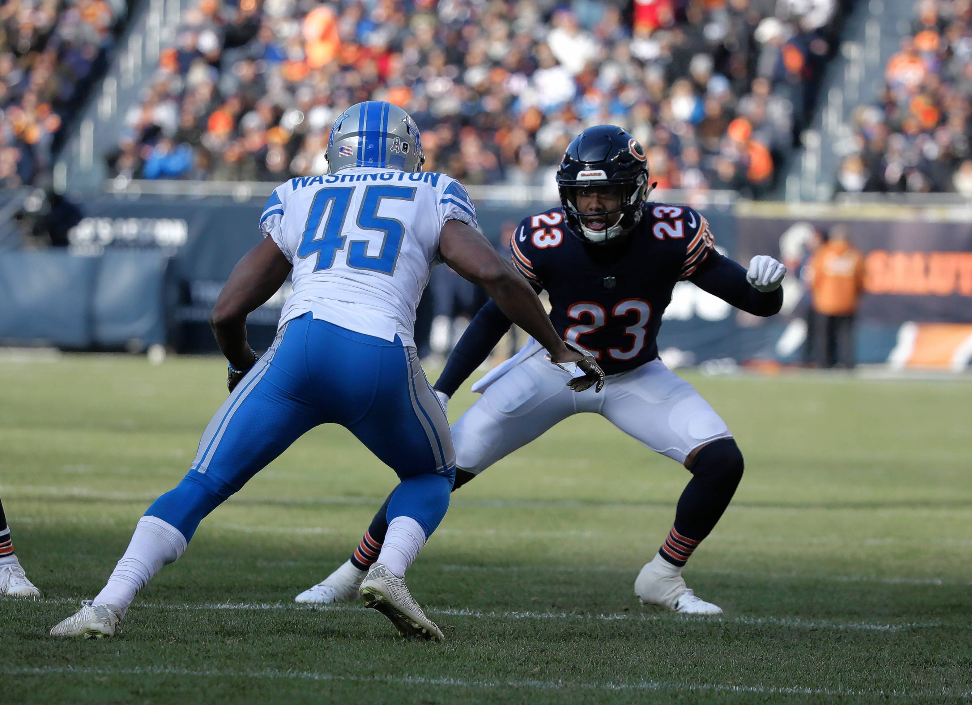 Chicago Bears cornerback Kyle Fuller (23) defends Detroit Lions defensive back Charles Washington (45) during the second half of an NFL football game Sunday, Nov. 11, 2018, in Chicago. (AP Photo/David Banks)