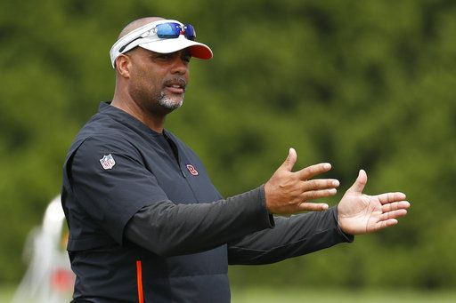 FILE - In this July 26, 2018, file photo, Cincinnati Bengals defensive coordinator Teryl Austin participates during NFL football practice, in Cincinnati. The Bengals have fired defensive coordinator Teryl Austin, Monday, Nov. 12, 2018, and put head coach Marvin Lewis in charge of an historically bad unit. The Bengals lost to the Saints 51-14 on Sunday, one of the worst showings in franchise history.
